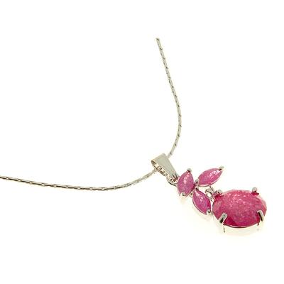 "Кулон ""Циркон"" royal, цветик, цвет малиновый, 45см"