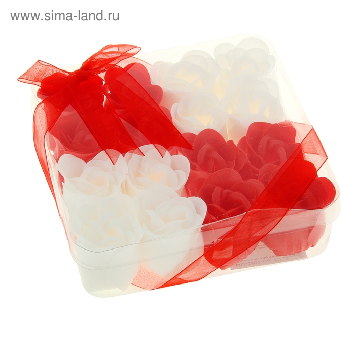 """Мыльные лепестки (набор 16 шт) """"Кураж"""", цвет красно-белый"""