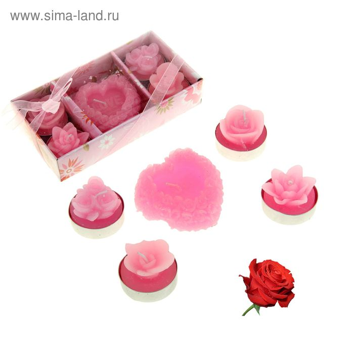 """Свечи восковые (набор 5 шт) """"Сердце с цветами"""", аромат роза"""