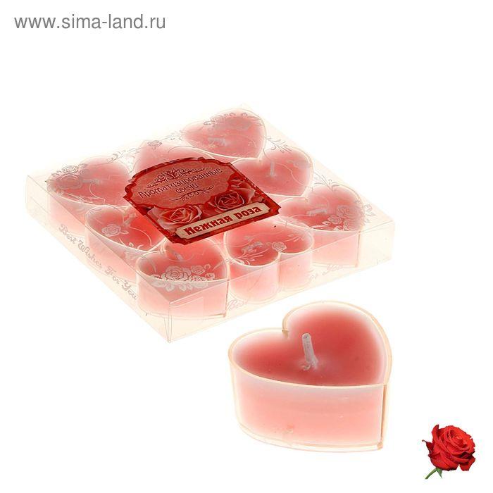 """Свечи восковые плавающие (набор 9 шт) """"Сердце"""", аромат роза"""