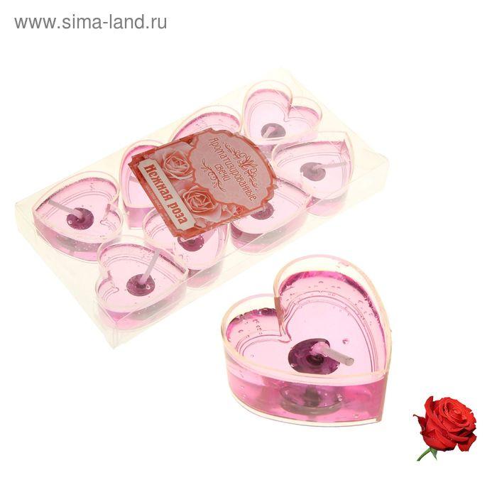 """Свечи гелевые плавающие (набор 8 шт) """"Сердце"""", аромат роза"""