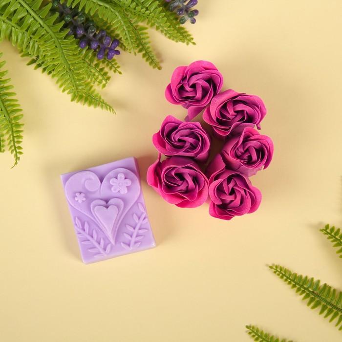 """Набор подарочный """"Сердце"""": мыльные лепестки (набор 6 шт), мыло сувенирное, цвет красный"""