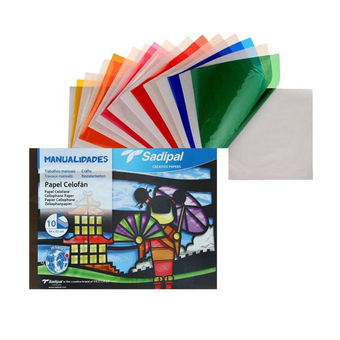 Бумага-пленка прозрачная, (целлюлоза 100%), 240 х 320 мм, Sadipal, НАБОР 10 листов, 10 цветов