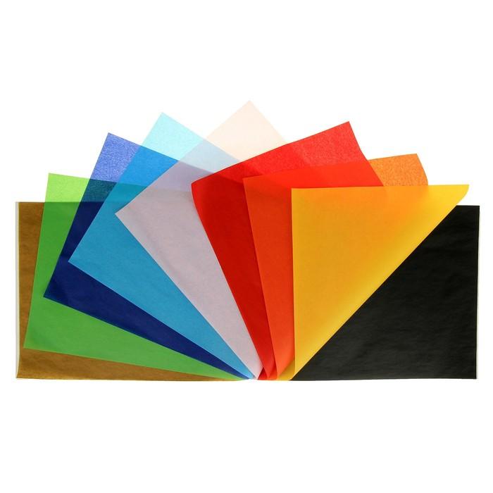 Бумага цветная, тишью (шёлковая), B4, Sadipal, 17 г/м2, набор 10 цветов