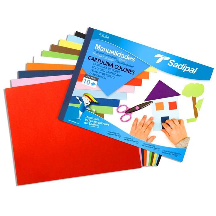 Картон цветной набор 312*240 мм Sadipal 10 листов*10 цветов склейка 5980