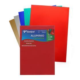 Картон цветной металлизированный, А4 210 х 297мм, Sadipal 225г/м2, НАБОР 5 листов* 5 цветов