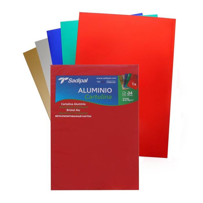 Картон цветной металлизированный набор 210*297 мм Sadipal 225 г/м2 5 листов*5 цветов 2028