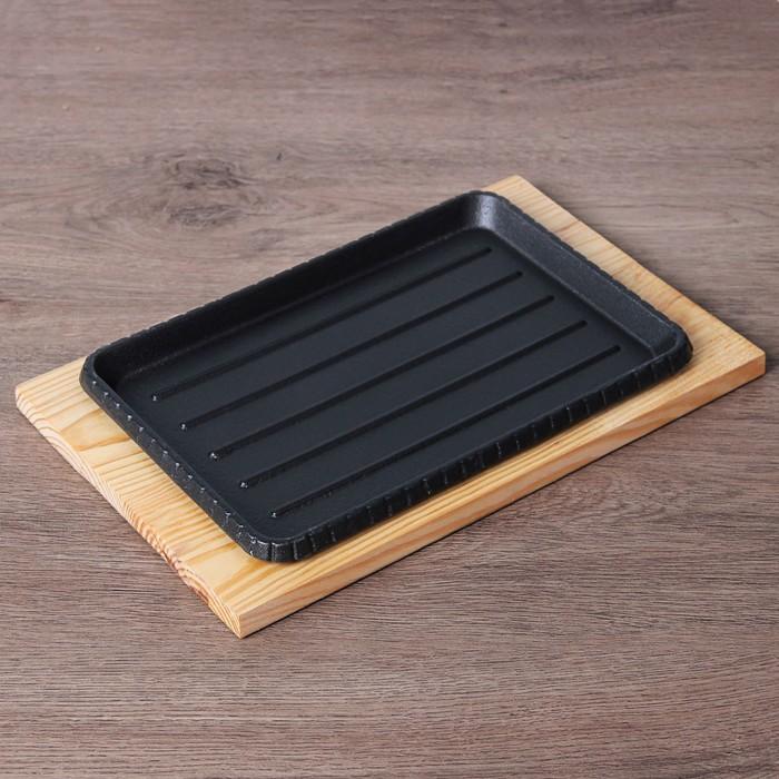 """Сковорода 26х17 см """"Прямоугольник. Гриль"""", на деревянной подставке"""