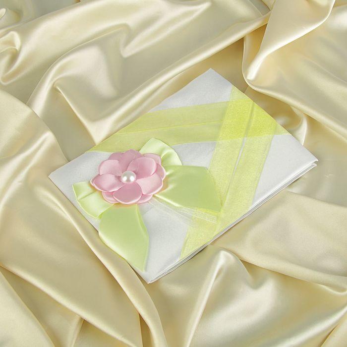 """Книга пожеланий ручной работы """"Цветок"""", белая с зелёными лентами"""