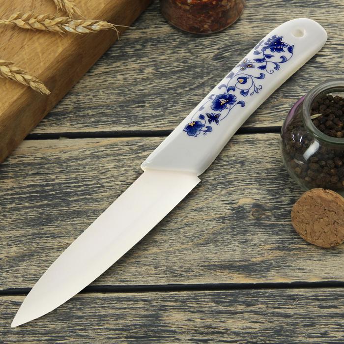 """Нож керамический """"Гжель"""", лезвие 10 см"""