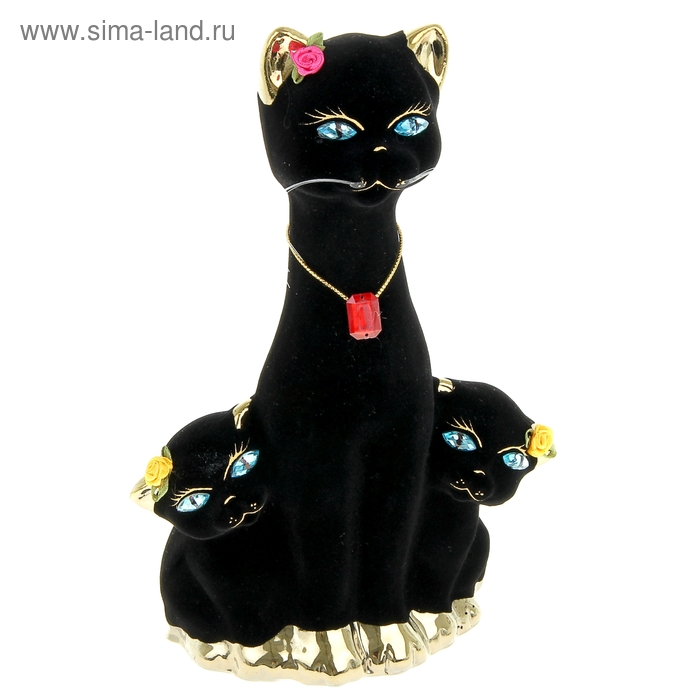 "Копилка ""Кошка с котятами"" флок, булат, чёрная"