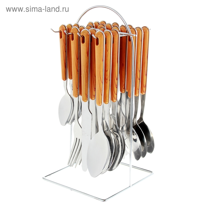 """Набор столовых приборов """"Садовый домик"""" на подставке, 24 предмета"""