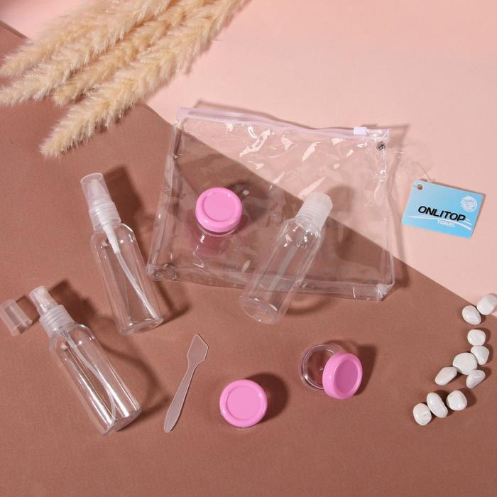 Набор для хранения в чехле: 3 бутылочки по 60мл, 3 бутылочки по 8мл, лопатка, цвет МИКС