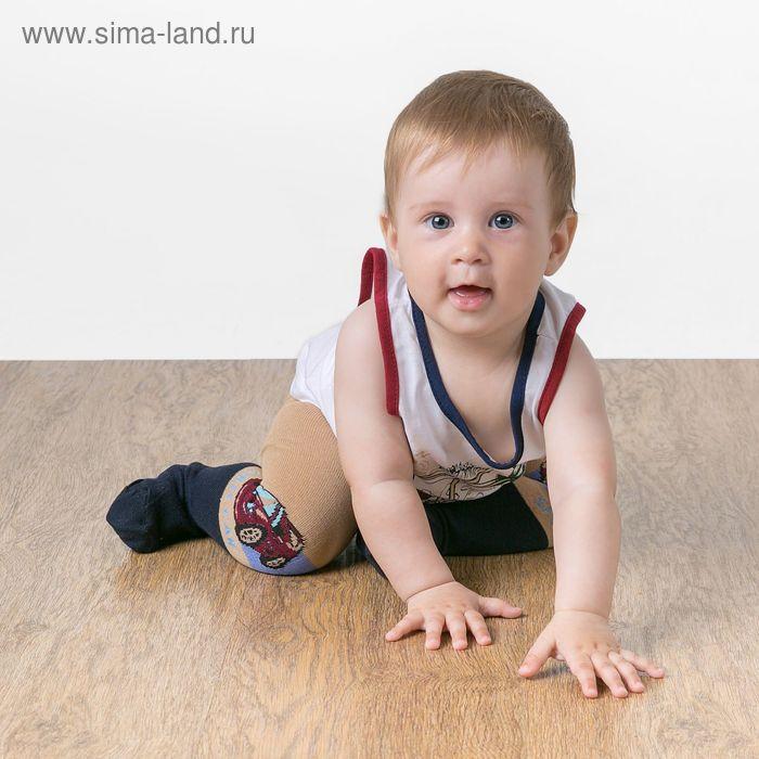 """Детские колготки с рисунком """"Гонка"""", M/6-12 мес., 62-68 см, 80% хлопок, 15% п/э, 5% спандекс"""
