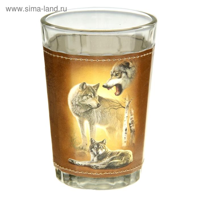 """Стакан граненый """"Охота. Волки"""" 150 мл"""