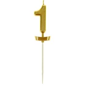 """Свеча в торт под золото цифра """"1"""""""