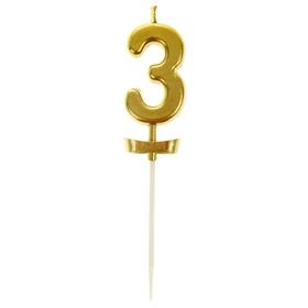 """Свеча в торт под золото цифра """"3"""""""