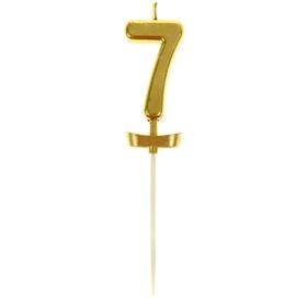 """Свеча в торт под золото цифра """"7"""""""