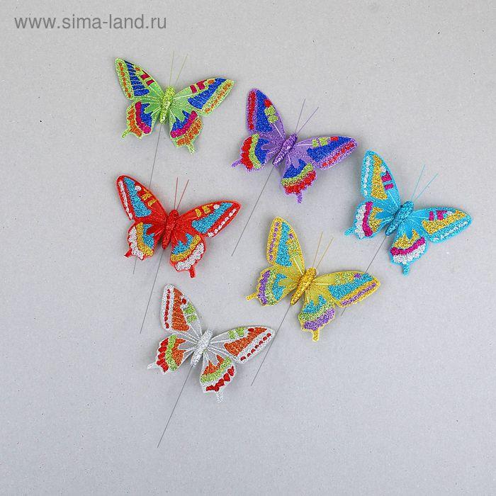 """Декор """"Бабочки"""" на палочке, цвета МИКС"""