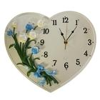 """Часы настенные интерьерные """"Тюльпаны в сердце"""", кремовые"""