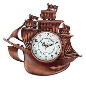 Часы настенные 'Корабль', коричневая патина, микс Ош