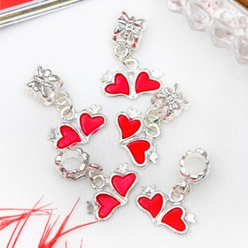 """Pendant """"Two hearts"""" the color red in silver"""