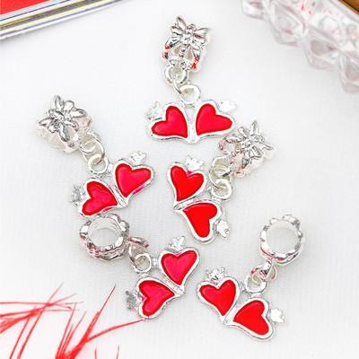 """Подвеска """"Два сердечка"""" цвет красный в серебре"""