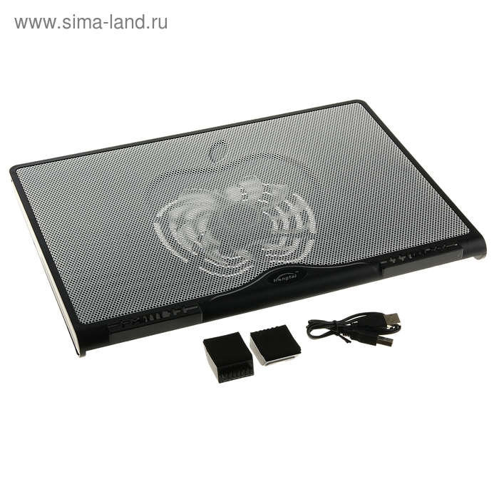 Охлаждающая подставка для ноутбука с LED подсветкой, 1 кулер, USB HUB, белая