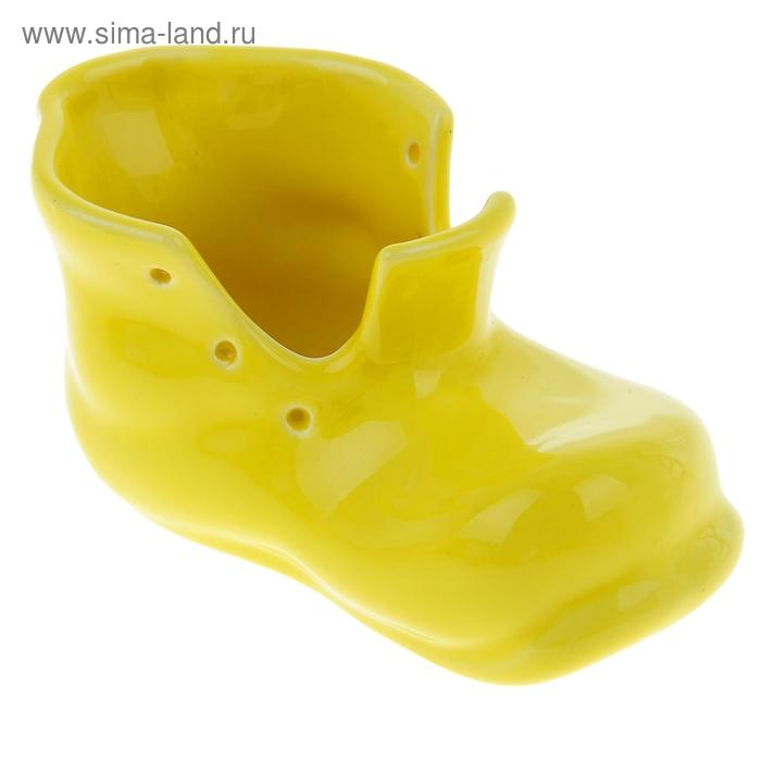 """Кашпо """"Башмак"""" жёлтое, глянец, 0,18 л"""