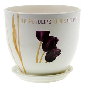 """Кашпо """"Виктор"""" тюльпан, белое, 4 л"""