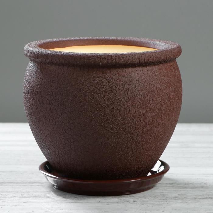"Кашпо ""Вьетнам"" шёлк, шоколадное, 5 л"