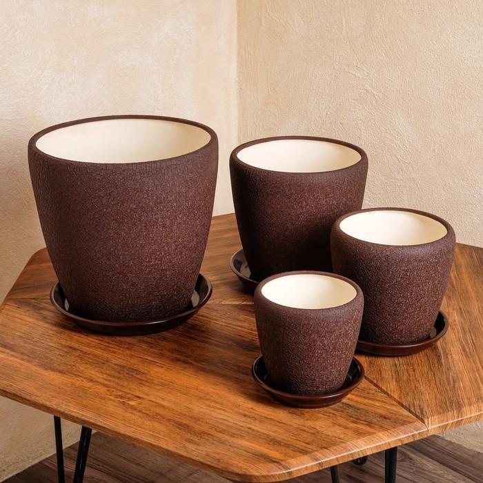 """Набор горшков для цветов """"Грация"""" 4 шт, шёлк, шоколадный цвет, 10 л/ 4,5 л/ 2,3 л/ 1,2 л - фото 1577100"""