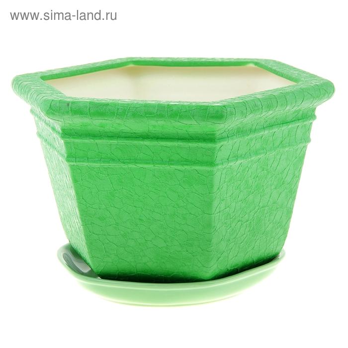 "Кашпо ""Греция"" шёлк, зелёное, 4 л"
