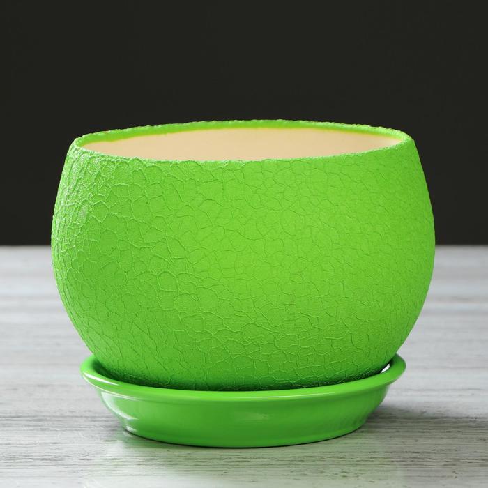 """Горшок для цветов """"Шар"""" шёлк, зелёный, 1,4 л - фото 725625658"""