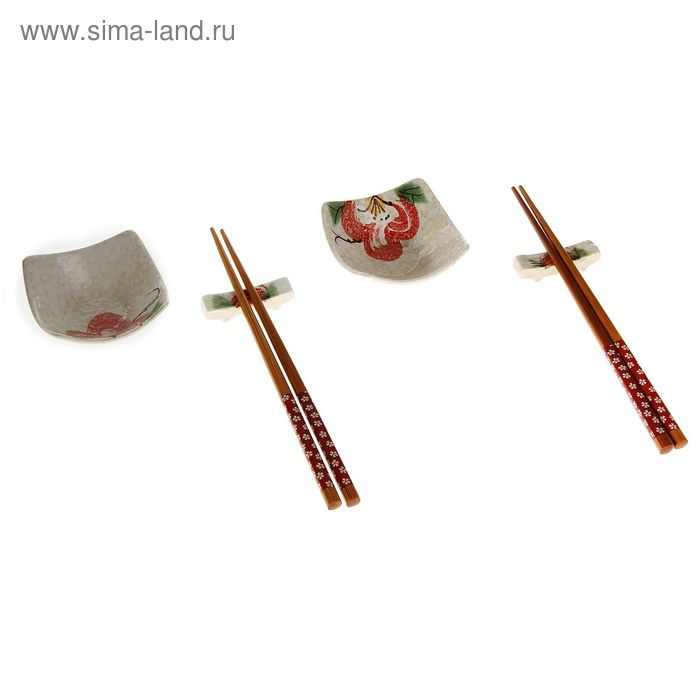 """Набор для суши 6 предметов """"Красный цветок"""""""