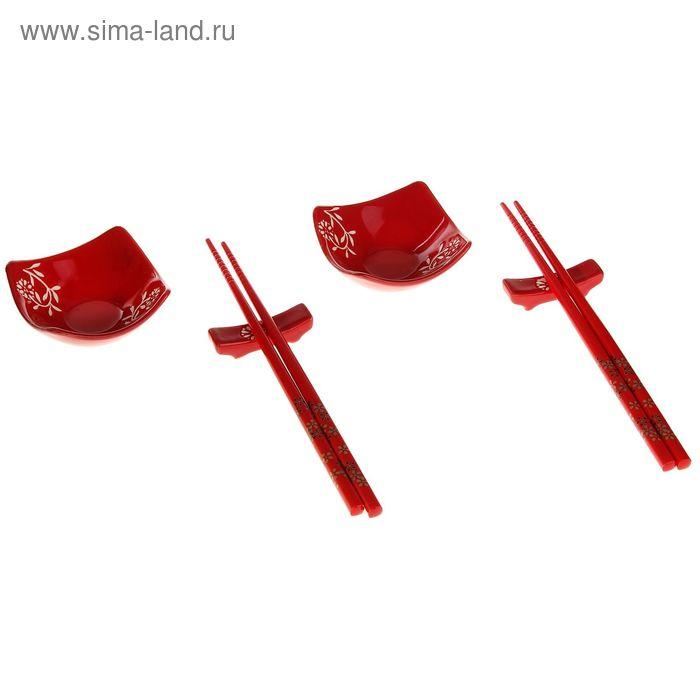 """Набор для суши 6 предметов """"Цветы на красном"""""""