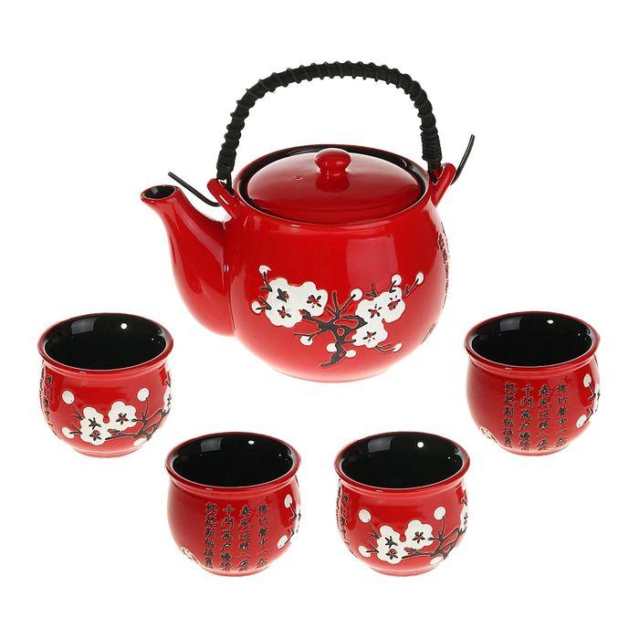 Набор для чайной церемонии «Белая сакура на красном», 5 предметов: чайник 600 мл, чашки 70 мл