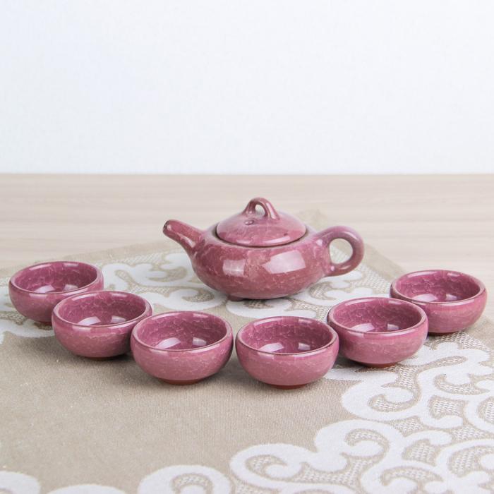 Набор для чайной церемонии «Лунный камень», 7 предметов: чайник 150 мл, чашки 50 мл, цвет розовый