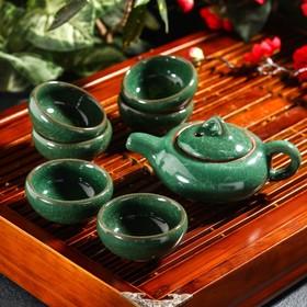 Набор для чайной церемонии «Лунный камень», 7 предметов: чайник 150 мл, чашки 50 мл, цвет зелёный