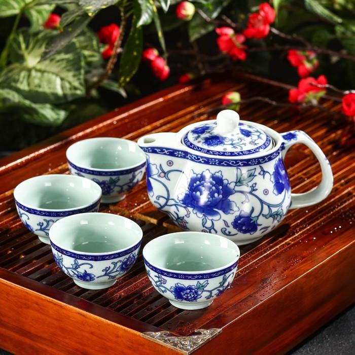 "Набор для чайной церемонии ""Синий цветок"", 5 предметов: чайник 200 мл, чашка 30 мл"