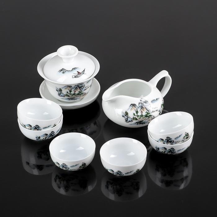 """Набор для чайной церемонии """"Пейзаж"""", 8 предметов: чахай 150 мл, гайвань 100 мл, чашки 30 мл"""
