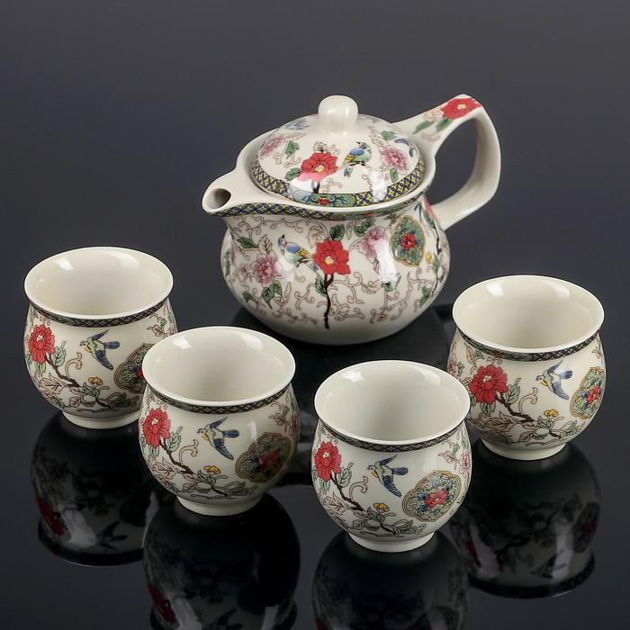 """Набор для чайной церемонии """"Цветение"""", 5 предметов: чайник 400 мл, 4 чашка 50 мл"""