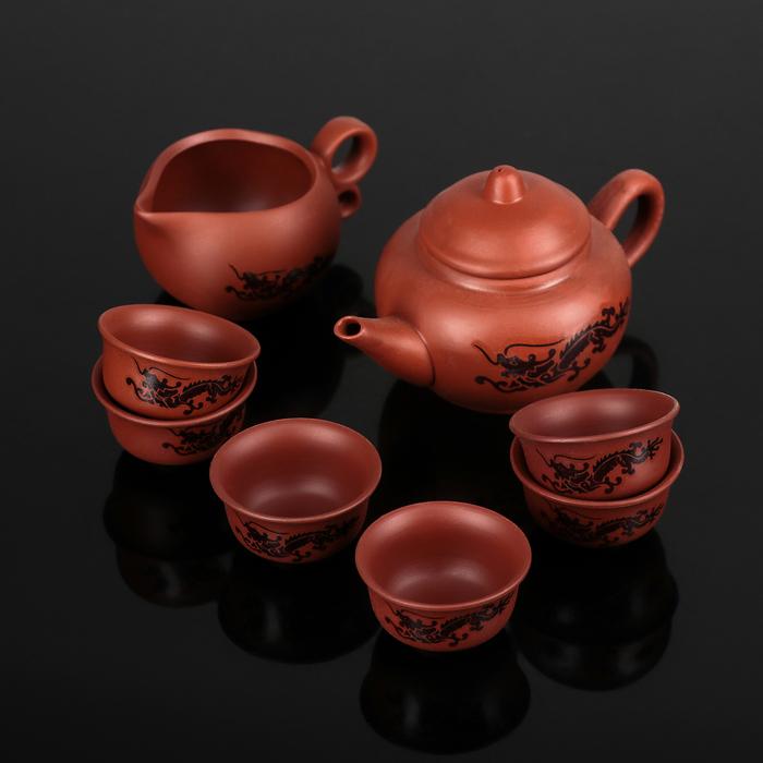 "Набор для чайной церемонии ""Дракон"", 8 предметов: чайник 150 мл, чахай 100 мл, чашка 30 мл"