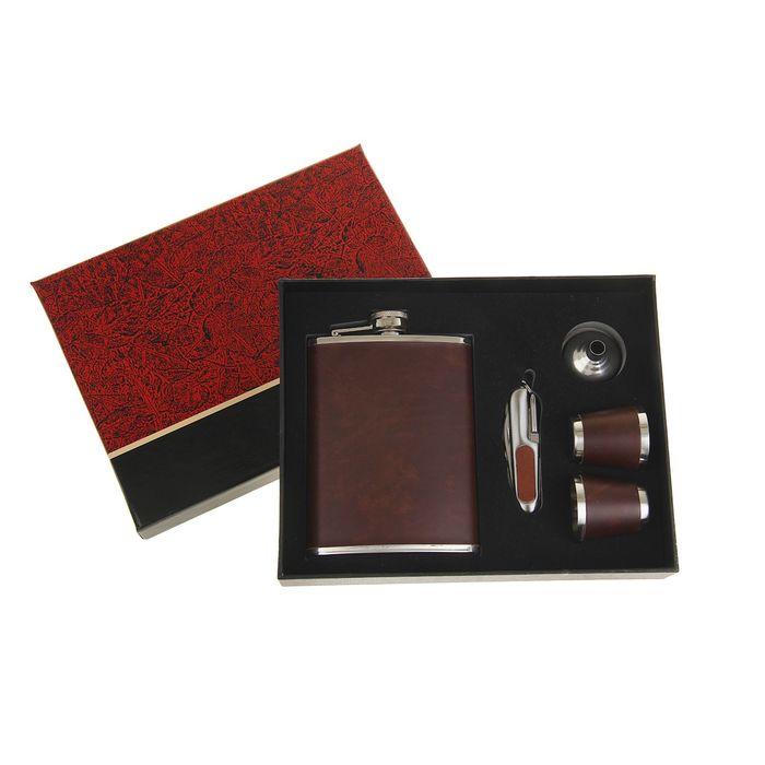 Подарочный набор 5в1, коричневая кожа: фляжка 240 мл, воронка, нож 7в1, 2 рюмки