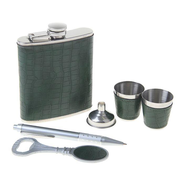 """Подарочный набор 6 в 1 """"Изумрудный"""", под зелёную кожу рептилии: фляжка 210 мл + воронка, открывалка, ручка, 2 рюмки"""
