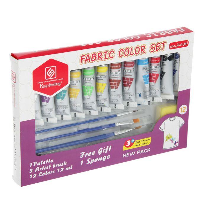 Набор красок по ткани: 12 тюбиков по 12 мл, 4 кисточки, палетка 12 цветов