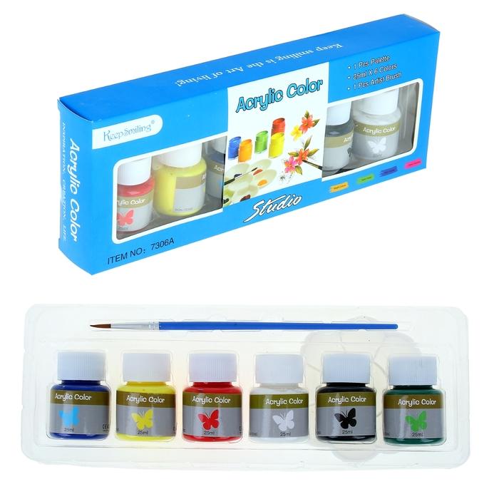 Набор акриловых красок по стеклу, дереву, металлу 6 цветов по 30 мл