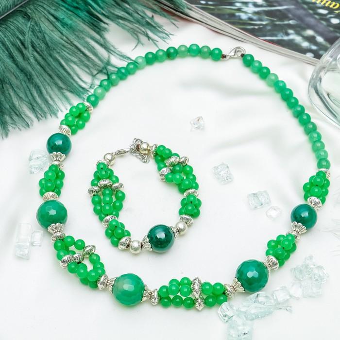 """Набор 2 предмета: колье, браслет, через гранёный шар """"Агат зелёный"""""""