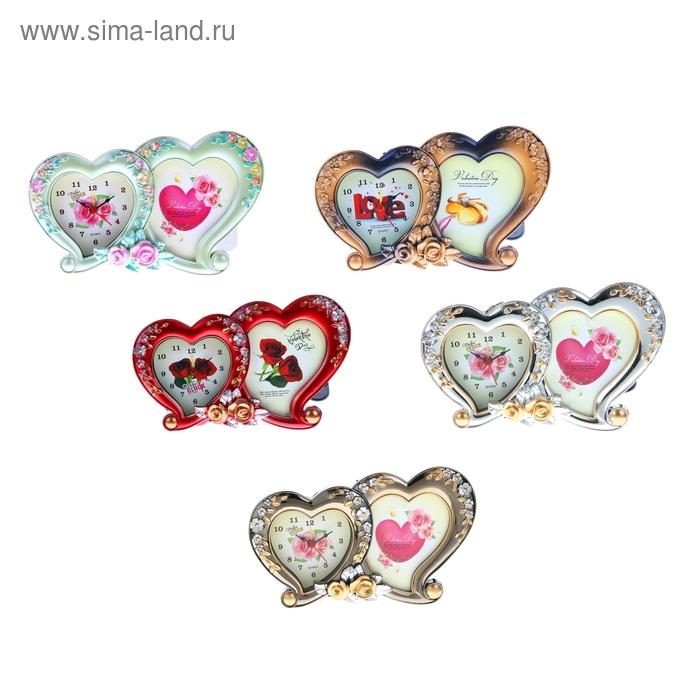 "Будильник ""Два сердца"", цвета МИКС"