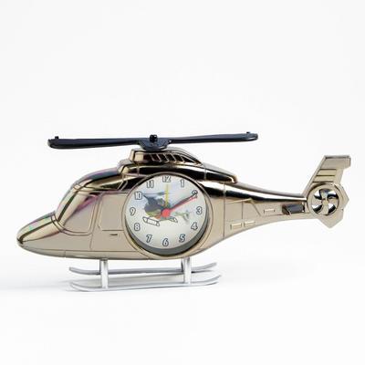 """Будильник """"Вертолет"""", темный хром, 11.5х27 см"""
